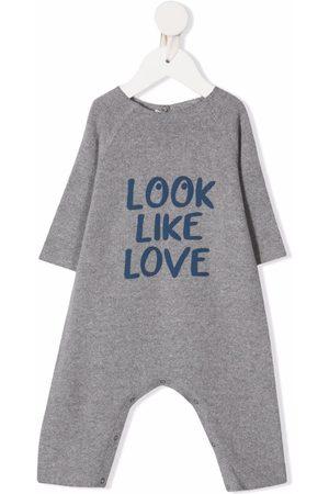Zhoe & Tobiah Baby Rompers - Slogan-print rompers - Grey