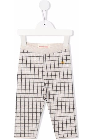 Bobo Choses Baby Leggings - Grid-check knitted trousers - Neutrals
