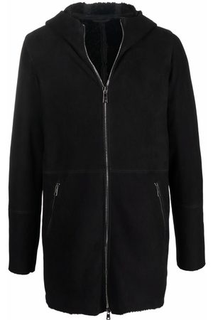 GIORGIO BRATO Men Leather Jackets - Hooded zip-up shearling jacket