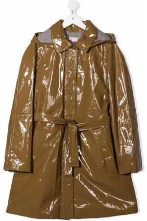 BONPOINT Rainwear - Stripe-lining belted raincoat