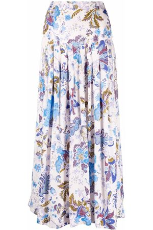 Isabel Marant Bella floral-print tiered long skirt - Neutrals