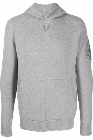 Stone Island Men Hoodies - Compass embroidered-logo knitted hoodie - Grey