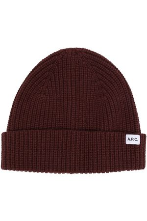 A.P.C. Men Beanies - Logo-patch ribbed-knit beanie