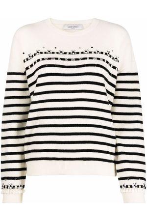VALENTINO Women Long sleeves - Horizontal-stripe long-sleeve jumpr