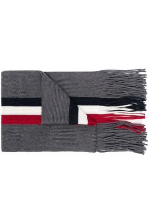 Moncler Men Scarves - Logo-patch knitted scarf - Grey