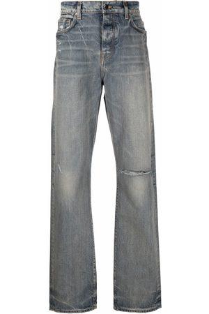AMIRI Men Straight - Logo patch ripped jeans