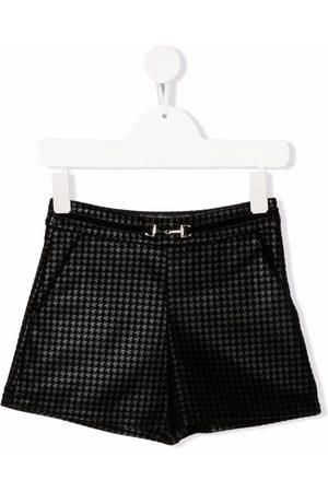 Abel & Lula Girls Shorts - Houndstooth belted-waist shorts