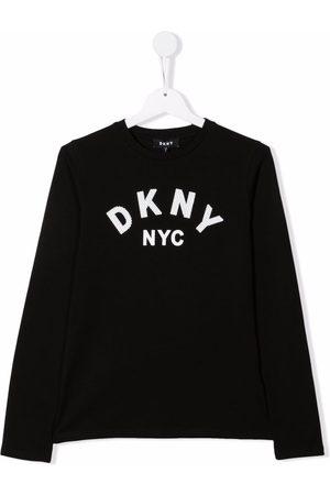 DKNY Girls Long Sleeve - Logo-print long-sleeve T-shirt