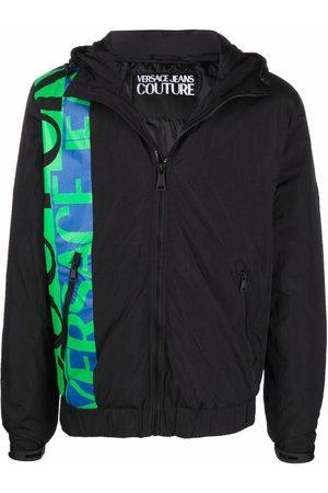VERSACE Logo-print hooded bomber jacket