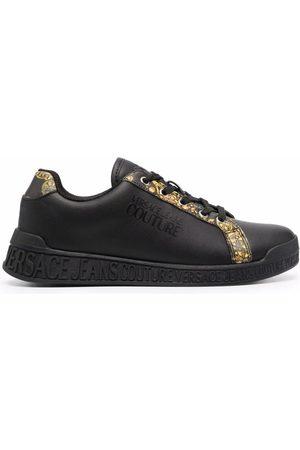VERSACE Women Sneakers - Greca Barocco-print trim low-top sneakers
