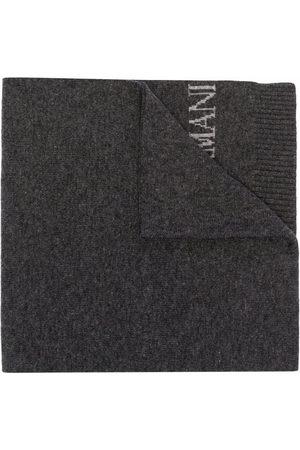Emporio Armani Intarsia-knit logo scarf - Grey