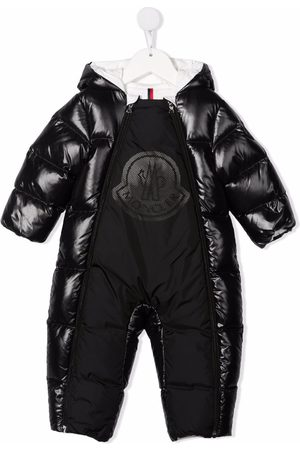 Moncler Puffer Jackets - Logo patch padded snowsuit