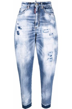 Dsquared2 Women High Waisted - High-rise bleached tapered jeans