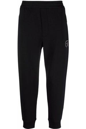 Emporio Armani Embroidered-logo cotton track trousers