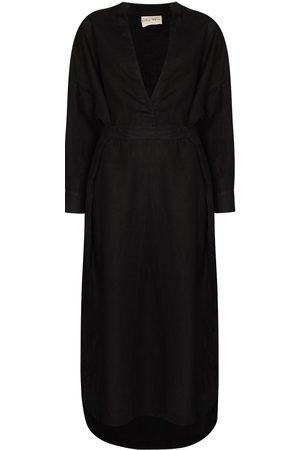 DES SEN Lazio belted-waist long dress