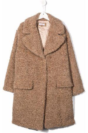 MONNALISA TEEN notched-lapels single-breasted faux-fur coat - Neutrals