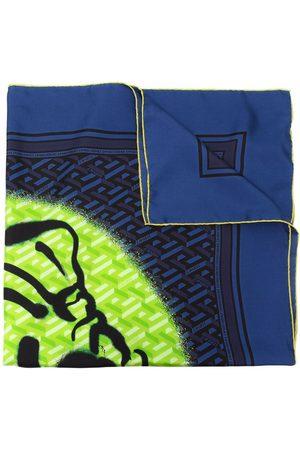 VERSACE Graffiti-logo silk scarf