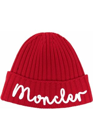 Moncler Hats - Embroidered-logo ribbed-knit hat