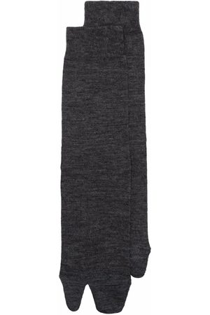 Maison Margiela Women Socks - Tabi-toe mélange knitted socks - Grey