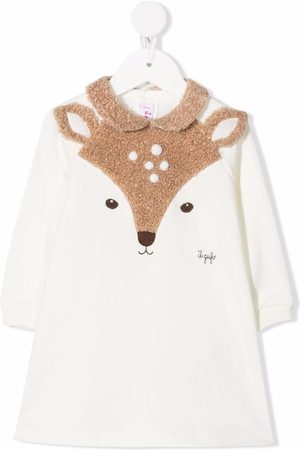 Il gufo Deer-panelled dress - Neutrals
