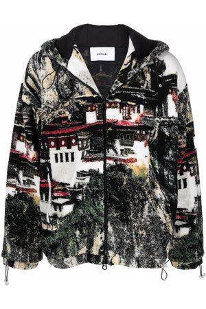BONSAI Landscape-knit hooded fleece jacket