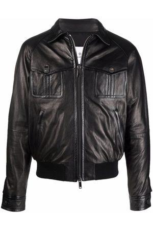 TAGLIATORE Men Leather Jackets - David leather bomber jacket