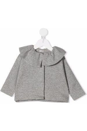 Il gufo Tops - Ruffle neck top - Grey