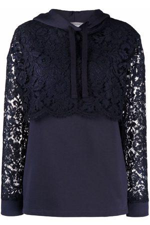VALENTINO Women Long sleeves - Lace-panel long-sleeve hoodie
