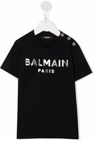 Balmain Girls T-shirts - Logo-print cotton T-shirt