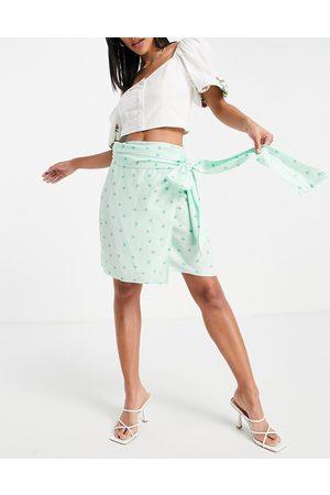 Style Cheat Mini wrap skirt set in heart print