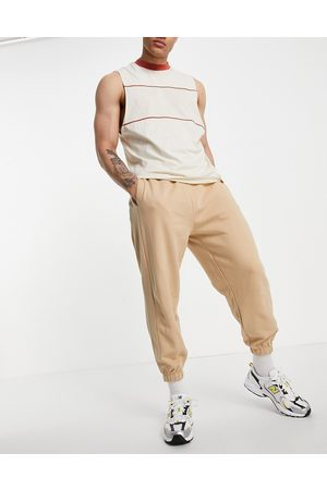 ASOS Set oversized sweatpants with panel detail in rib-Neutral