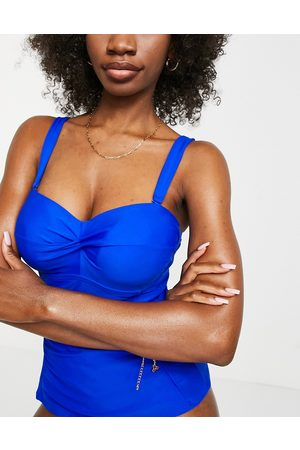 Figleaves Fuller Bust rene underwired bandeau tummy control tankini in cobalt blue-Blues