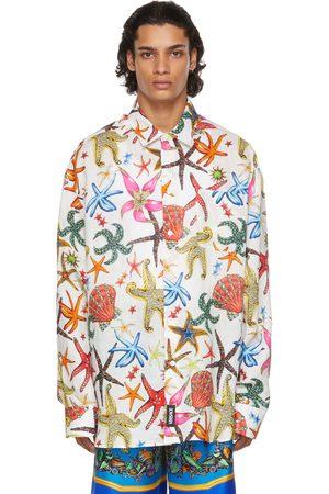 VERSACE Men Shirts - White Linen Trésor De La Mer Shirt