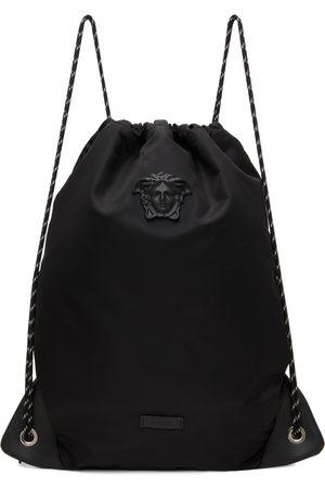 VERSACE Men Luggage - Black Nylon 'La Medusa' Drawstring Backpack