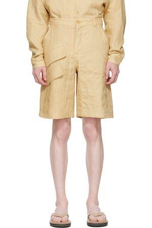Jacquemus Men Shorts - Beige 'Le Short Raphia' Shorts