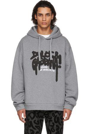 Dolce & Gabbana Men Hoodies - Grey Fleece Logo Print Hoodie
