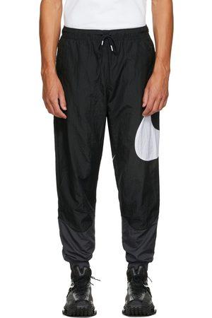 Nike Men Sweats - Black & Grey Swoosh Sportswear Lounge Pants