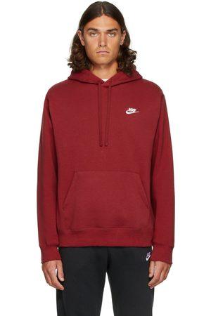 Nike Men Hoodies - Red Fleece Sportswear Club Hoodie