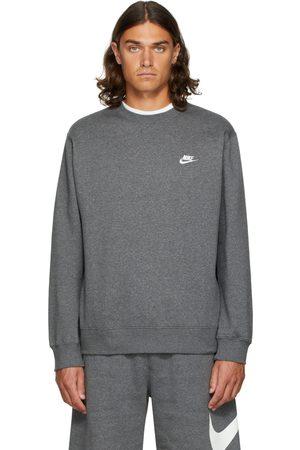 Nike Men Sports Hoodies - Grey Fleece Sportswear Club Sweatshirt