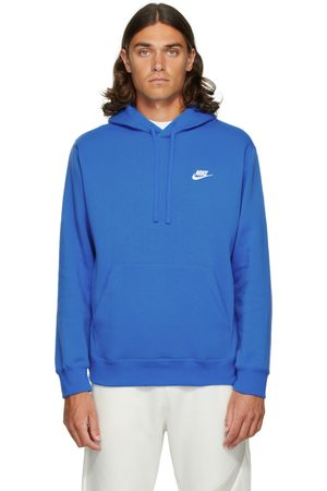 Nike Men Hoodies - Blue Fleece Sportswear Club Hoodie
