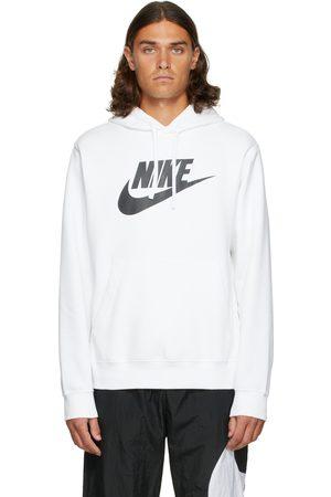 Nike Men Hoodies - White & Black Fleece Sportswear Club Hoodie