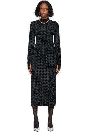 Marine Serre Women Midi Dresses - Black & Grey Moon Lozenge Dress