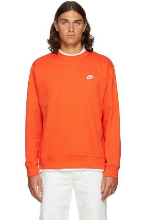 Nike Men Sports Hoodies - Orange Fleece Sportswear Club Sweatshirt