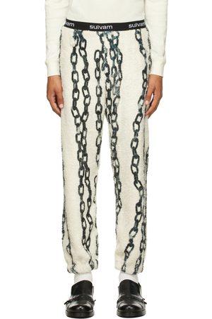 Sulvam Men Sweats - Off- & Green Chain Fleece Lounge Pants