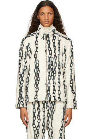 Sulvam Men Fleece Jackets - Off- & Green Chain Fleece Jacket