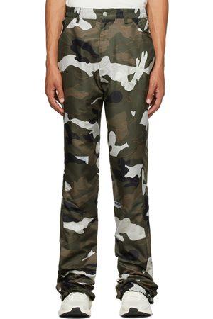 Kanghyuk Men Wide Leg Pants - Green Airbag Camouflage Flare Trousers