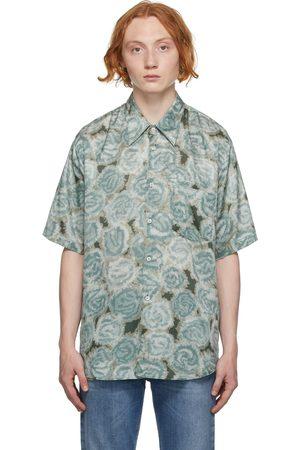 Acne Studios Men Short sleeves - Green Printed Short Sleeve Shirt