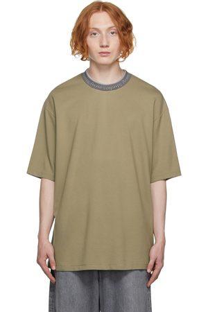 Acne Studios Men T-shirts - Beige Logo Collar T-Shirt