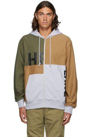 Helmut Lang Men Hoodies - Brown & Green Patchwork Zip Hoodie