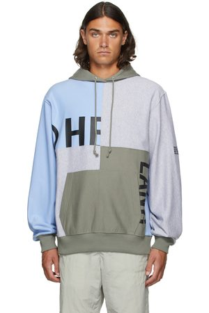 Helmut Lang Men Hoodies - Grey & Blue Patchwork Hoodie